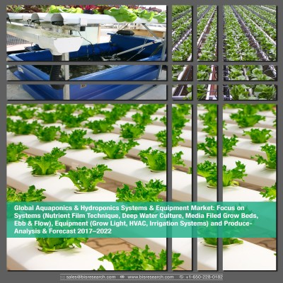 Global Aquaponics & Hydroponics Systems & Equipment Market -Analysis & Forecast 2017–2022: Focus on Systems (Nutrient Film Technique, Deep Water Culture, Media Filed Grow Beds, Ebb & Flow), Equipment (Grow Light, HVAC, Irrigation Systems) and Produce