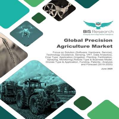 Global Precision Agriculture Market - Analysis & Forecast, 2019-2025: Focus on Solution (Software, Hardware, Service), Technology, Crop Type, Application,Robots Type & Business Model, Drones Type & Application, Funding, Patents